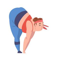 Plump girl doing sports weight loss process vector
