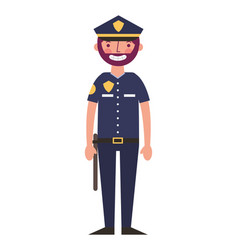Police man in uniform character vector