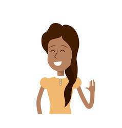 pretty girl with hand up and nice dress vector image