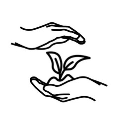 protective cupping hands from above and below vector image