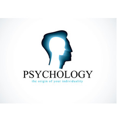 Psychology logo created with man head profile and vector