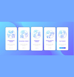 Psychotherapy different kinds onboarding mobile vector