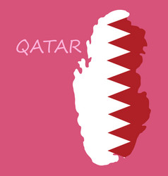 qatar map with waving flag of country vector image