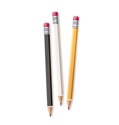 Realistic wood pencil set rubber eraser vector