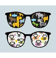 Retro sunglasses with cartoon animals reflection vector