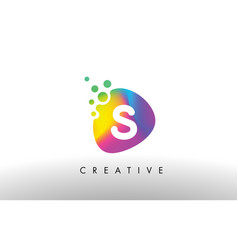S colorful logo design shape purple abstract vector