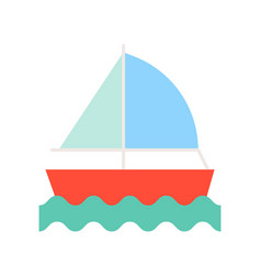 sail ship on sea waves icon summer and vacation vector image