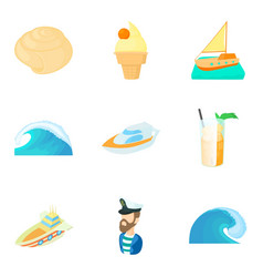 Sea voyage icons set cartoon style vector
