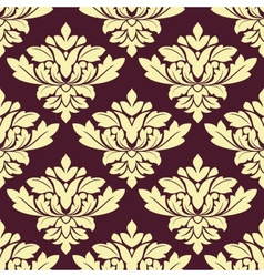 Seamless beige densely floral pattern on violet vector
