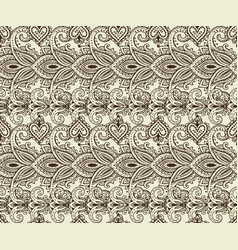 seamless pattern with henna mehndi floral vector image