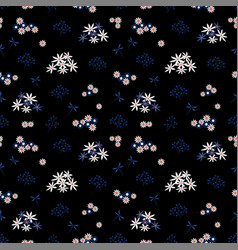 seamless pattern with white and blue flowers vector image