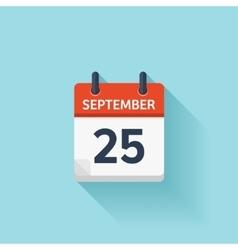 September 25 flat daily calendar icon vector