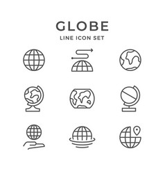 Set line icons of globe vector