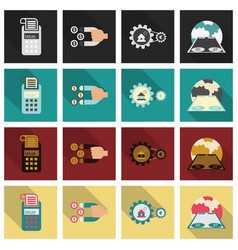 set of business simple icons economic concept in vector image