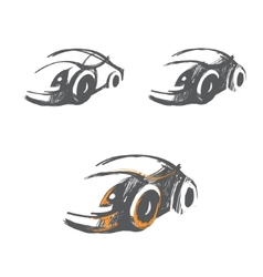 Set of hand-drawn car sketches vector