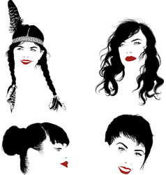 several faces girls vector image
