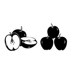 silhouette set apple icon isolated on white vector image