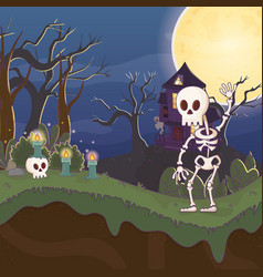 skeleton waving hand scary house halloween vector image