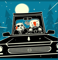 Snowmen riding on the car vector