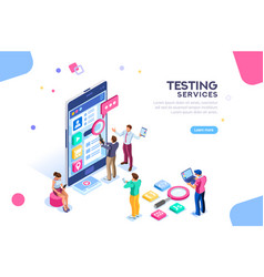 software testing services banner vector image