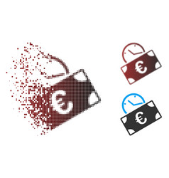 Sparkle pixel halftone euro recurring payment icon vector