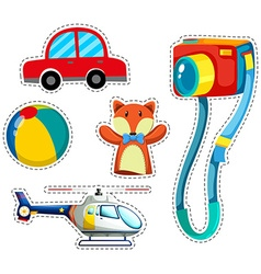 Sticker set of colorful toys vector