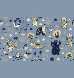 stone age surface pattern of prehistoric animals vector image