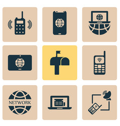 telecommunication icons set with laptop vector image