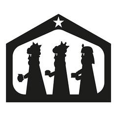 Three kings or three wise men silhouette vector