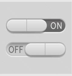 Toggle switch buttons on and off 3d oval gray vector