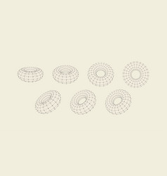 torus object with lines and dots molecular grid vector image