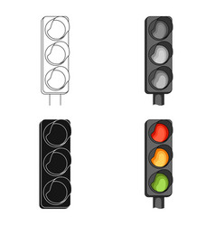 Traffic light for vehiclescar single icon in vector