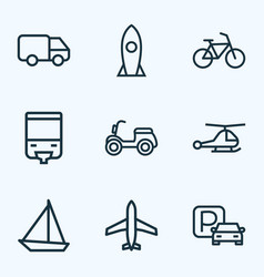 transport icons line style set with parking vector image