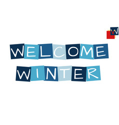 welcome cartooned cutout text in blue colored vector image