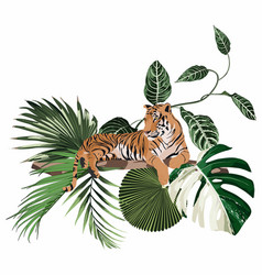 wild tiger with decorative tropical plants vector image