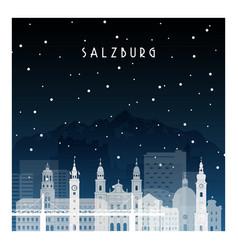 winter night in salzburg night city in flat style vector image