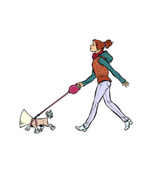 woman with a dog a dog in a protective collar vector image