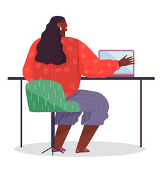 Workplace african woman with laptop office vector