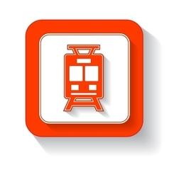 Yellow train button vector