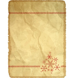 Aged paper with snowflakes vector image vector image