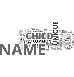 baby names unique or common text word cloud vector image vector image