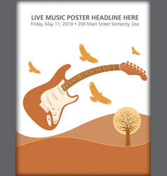 electric guitar landscape with birds vector image vector image