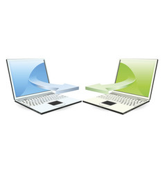 laptops communicating vector image vector image