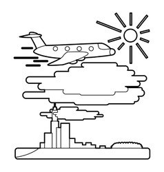 Plane flies over city concept outline style vector image vector image