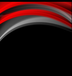 red and black smooth waves corporate background vector image