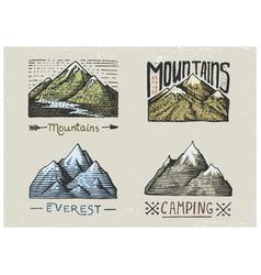 set of engraved vintage hand drawn old labels vector image vector image