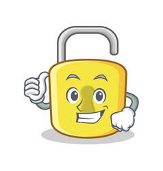 thumbs up yellow lock character mascot vector image