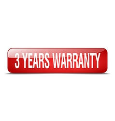 3 years warranty red square 3d realistic isolated vector image vector image