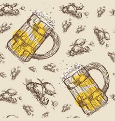 beer mug seamless pattern oktoberfest festival vector image vector image