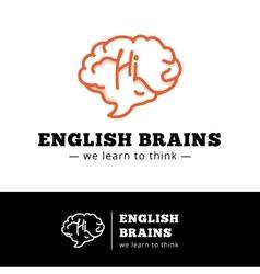 english courses logo concept Brain as a vector image
